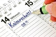 Termin für Kaiserschnitt wird eingetragen